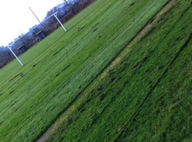 Freshly mown rec ground