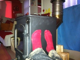 Warming feet on the still-warm-from-last-night woodburner