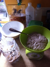 Weighing leaven for bread