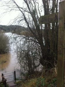 Flooded footpath at Hoarwithy