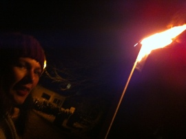 Lucia with wassail torch