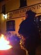 Landlord Matt in costume outside the Crown
