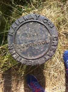 Disused railway boundary marker