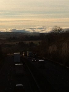 Orographic (?) clouds on the Black Mountains from the A449